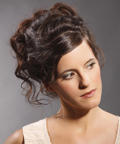 Updo Long Curly Formal Updo Hairstyle - Medium Brunette (Mocha) Hair Color
