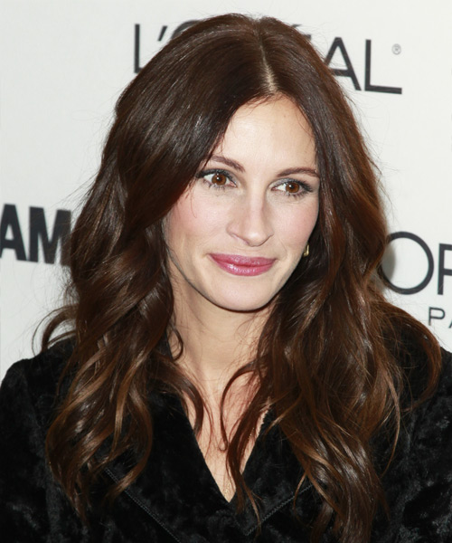 Julia Roberts Long Wavy Casual Hairstyle - Dark Brunette (Chocolate) Hair Color