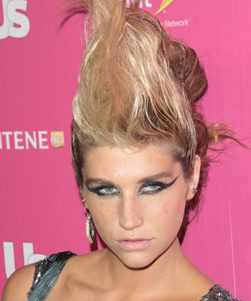 Kesha Medium Wavy Alternative Updo Hairstyle
