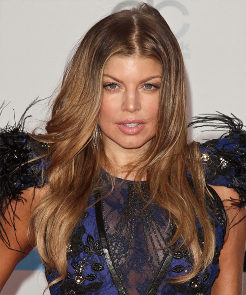 Fergie Long Wavy Hairstyle - Light Brunette (Copper)
