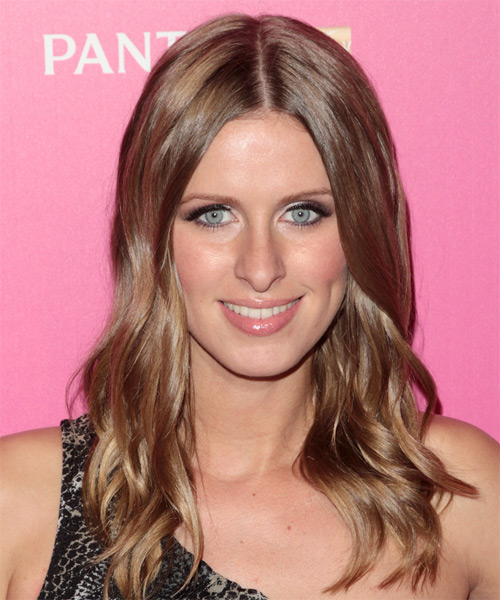 Nicky Hilton Long Wavy Casual Hairstyle - Medium Brunette (Chestnut) Hair Color