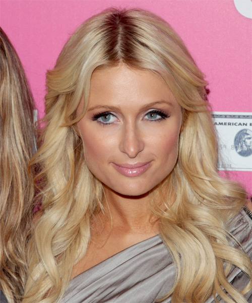 Paris Hilton Long Wavy Formal Hairstyle - Medium Blonde