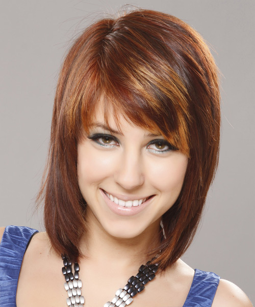 Medium Straight Casual Hairstyle with Side Swept Bangs - Medium Brunette (Auburn) Hair Color