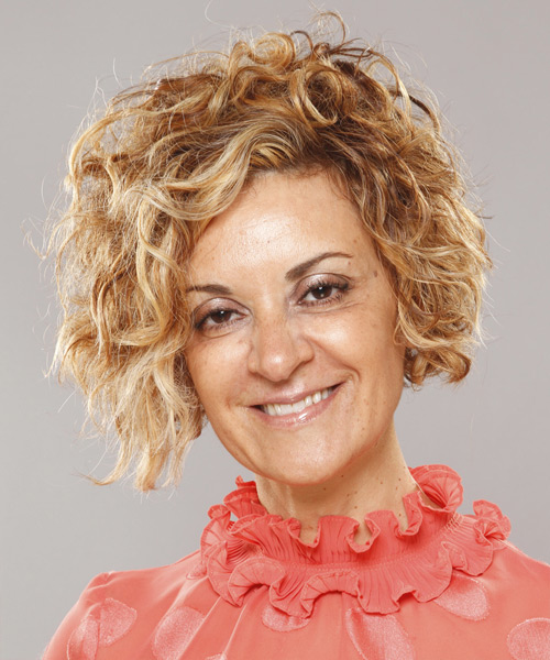 Short Curly Casual Hairstyle - Dark Blonde Hair Color