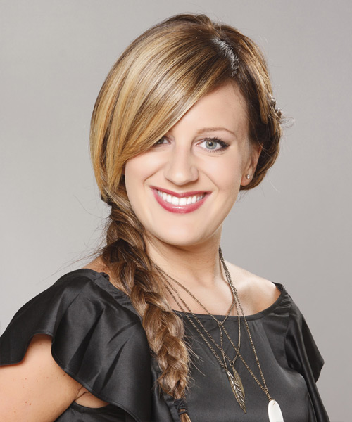 Casual Straight Braided Updo Hairstyle - Medium Brunette (Golden)