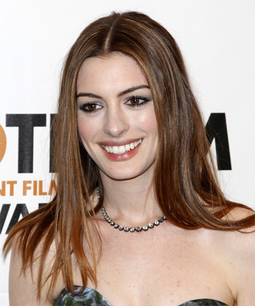 Anne Hathaway Long Straight Hairstyle - Medium Brunette (Chestnut)