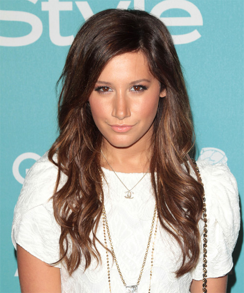 Ashley Tisdale Long Wavy Hairstyle - Medium Brunette (Chocolate)