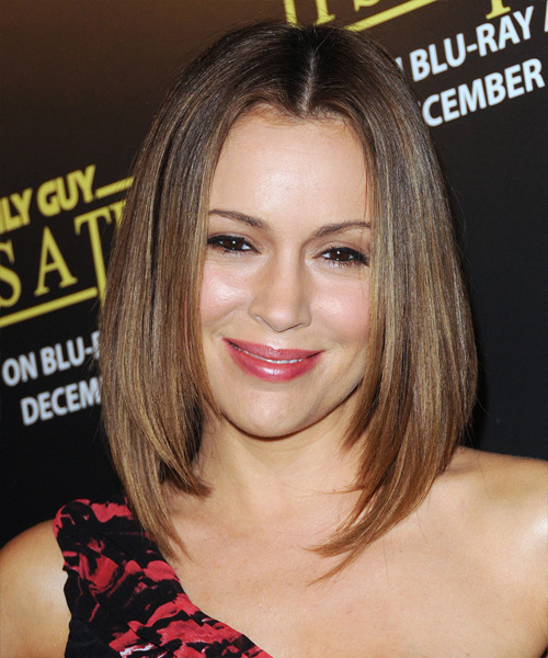 Alyssa Milano Medium Straight Formal Hairstyle