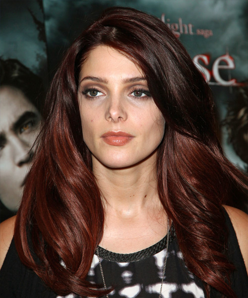 Ashley Greene Long Wavy Casual Hairstyle - Dark Red Hair Color