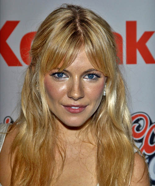 Sienna Miller Half Up Long Curly Hairstyle