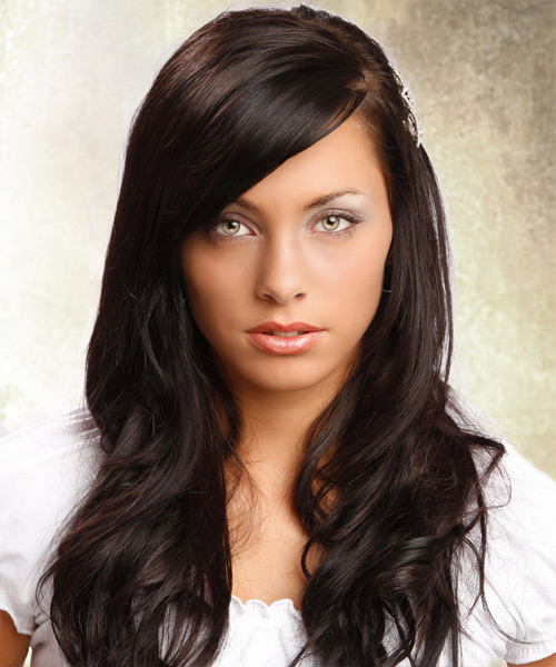 Long Straight Formal Hairstyle - Dark Brunette (Mocha) Hair Color