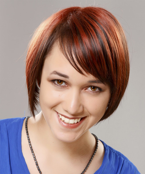 Short Straight Formal Bob Hairstyle with Side Swept Bangs - Dark Red Hair Color