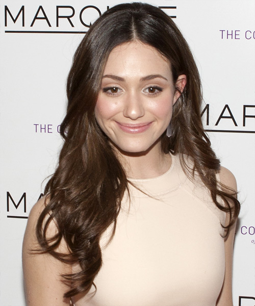 Emmy Rossum Long Wavy Formal Hairstyle - Dark Brunette Hair Color
