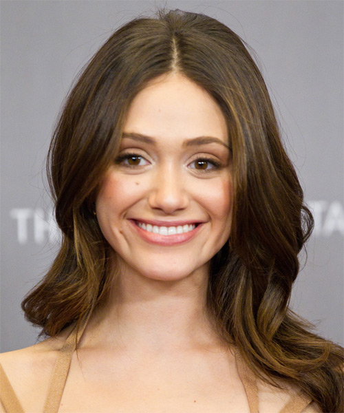 Emmy Rossum Long Wavy Hairstyle - Medium Brunette (Ash)