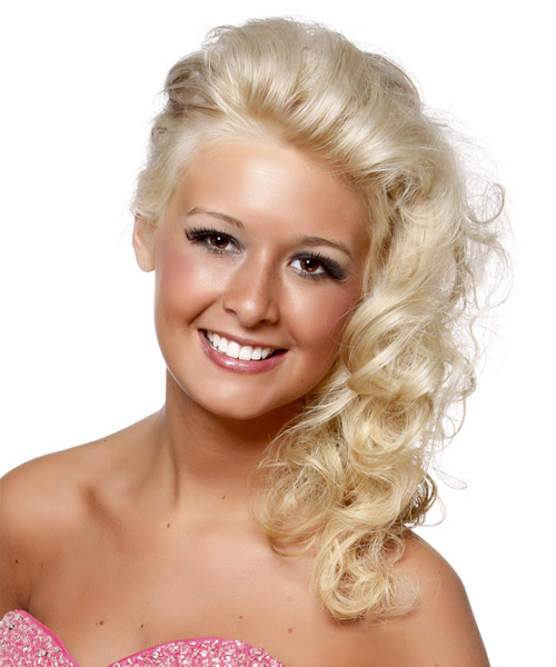 Long Curly Formal Hairstyle - Light Blonde (Platinum) Hair Color