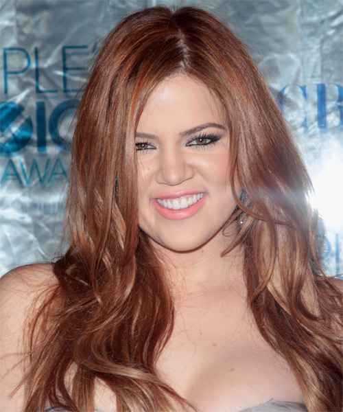 Khloe Kardashian Long Straight Casual Hairstyle - Medium Brunette (Caramel) Hair Color