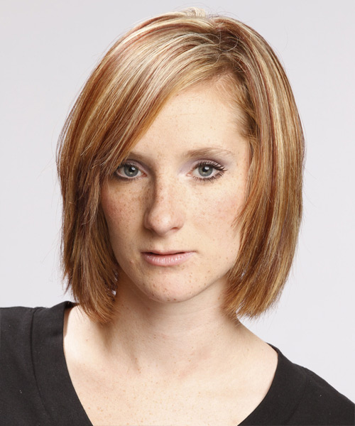 Medium Straight Casual Bob Hairstyle - Light Brunette (Caramel) Hair Color