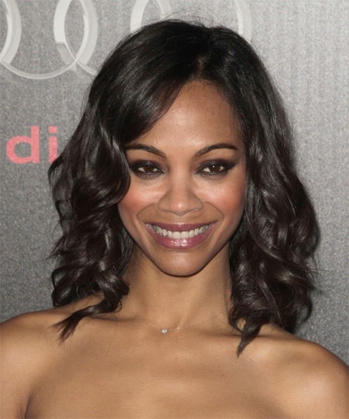 Zoe Saldana Medium Wavy Hairstyle - Dark Brunette (Chocolate)