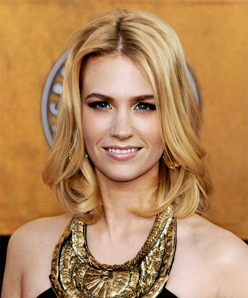January Jones Medium Wavy Formal Hairstyle