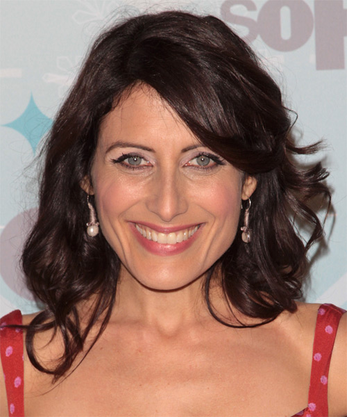 Lisa Edelstein Medium Wavy Casual Hairstyle - Medium Brunette (Chocolate) Hair Color