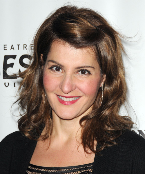 Nia Vardalos Medium Wavy Hairstyle