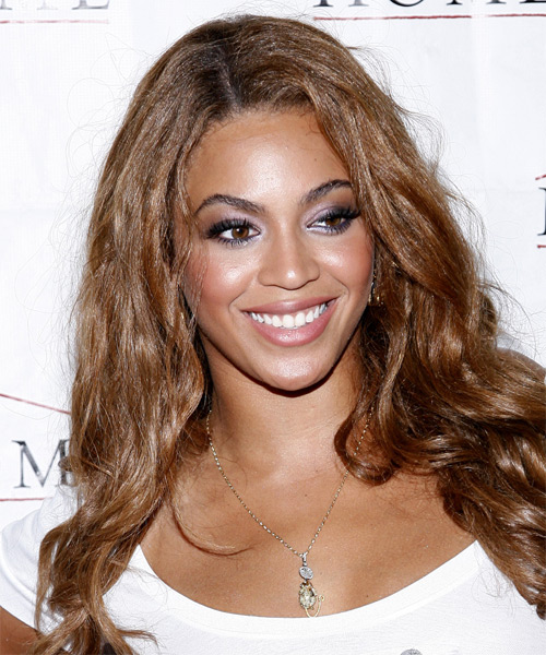 Beyonce Knowles Long Wavy Casual Hairstyle - Medium Brunette (Auburn) Hair Color