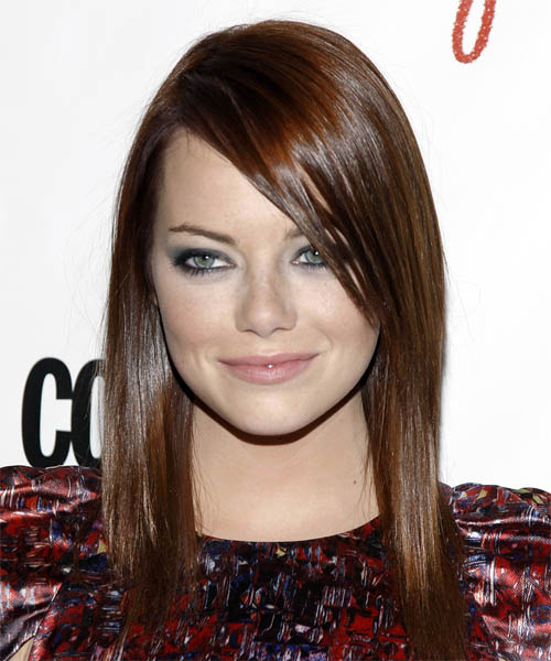 Emma Stone Long Straight Casual  with Side Swept Bangs