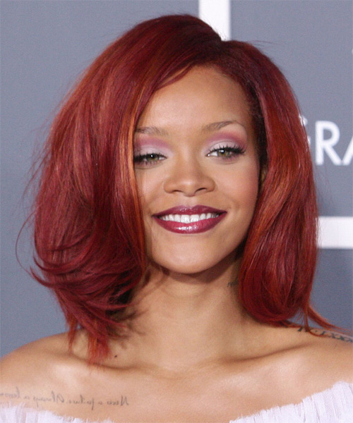Rihanna Medium Straight Formal Hairstyle - Medium Red (Bright) Hair Color