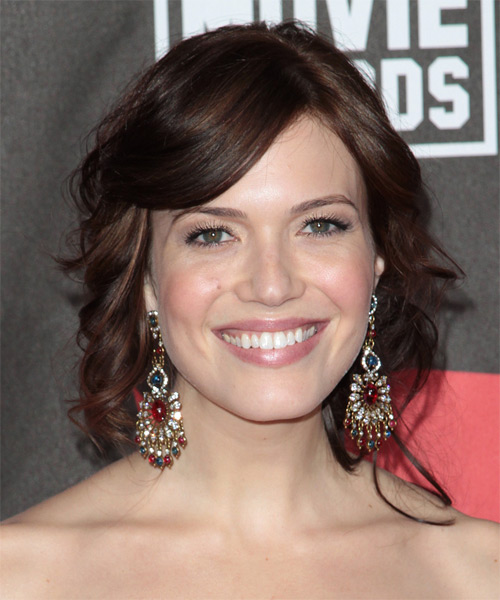 Mandy Moore Curly Formal Updo Hairstyle with Side Swept Bangs (Chocolate)
