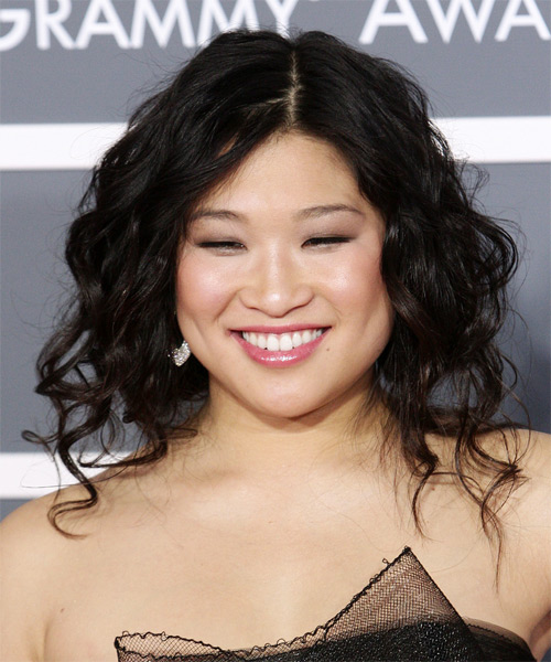 Jenna Ushkowitz  - Casual Updo Long Curly Hairstyle