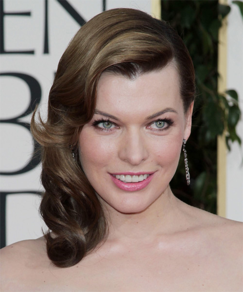 Milla Jovovich - Formal Medium Wavy Hairstyle