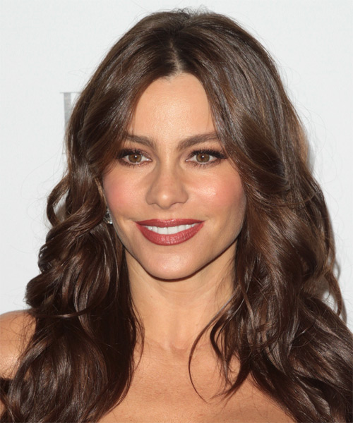 Sofia Vergara Long Wavy Casual Hairstyle - Medium Brunette (Chocolate) Hair Color