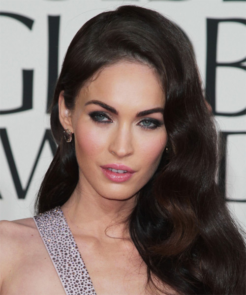 Megan Fox Long Wavy Formal Hairstyle - Medium Brunette (Mocha) Hair Color