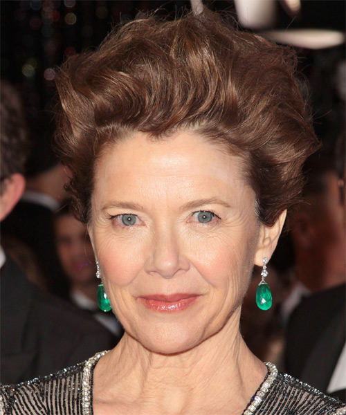 Annette Bening Short Wavy Casual Hairstyle - Medium Brunette (Auburn) Hair Color