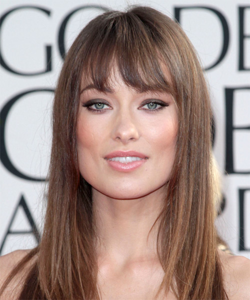 Olivia Wilde Long Straight Hairstyle - Medium Brunette (Chestnut)