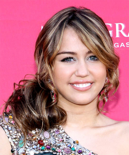 Miley Cyrus Curly Formal Half Up Hairstyle - Dark Brunette Hair Color
