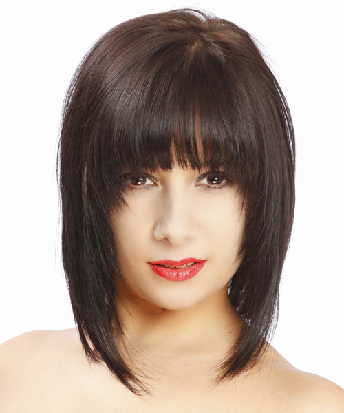 Medium Straight Formal Hairstyle - Dark Brunette Hair Color