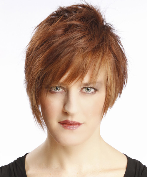 Short Straight Alternative Hairstyle with Layered Bangs - Light Brunette (Auburn) Hair Color