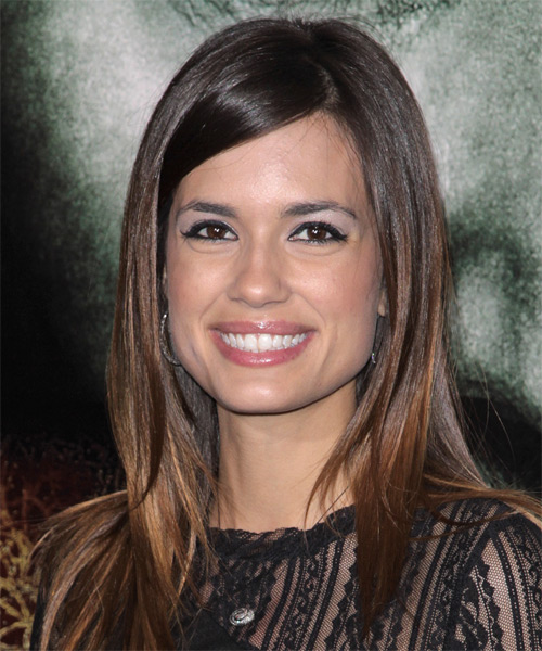 Torrey DeVitto Long Straight Casual Hairstyle with Side Swept Bangs - Dark Brunette Hair Color