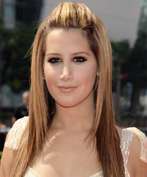Ashley Tisdale Straight Casual Half Up Hairstyle