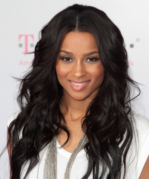 Ciara Long Wavy Casual Hairstyle - Black