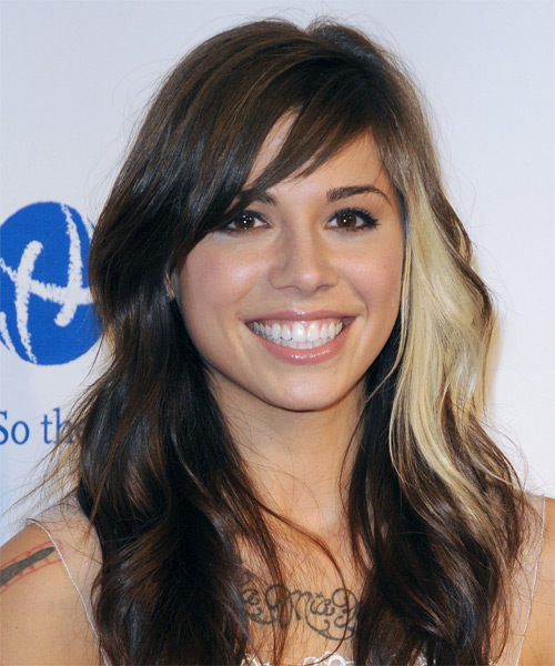 Christina Perri  Long Wavy Hairstyle - Dark Brunette