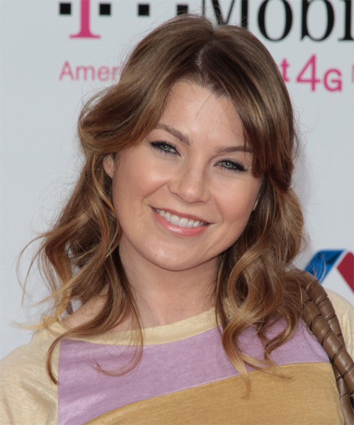 Ellen Pompeo Medium Wavy Casual Hairstyle - Medium Brunette (Chestnut) Hair Color