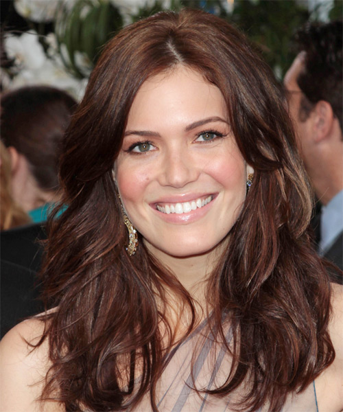 Mandy Moore Long Straight Casual Hairstyle - Medium Brunette (Mocha) Hair Color