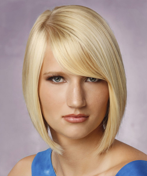 Medium Straight Formal Bob with Side Swept Bangs - Light Blonde