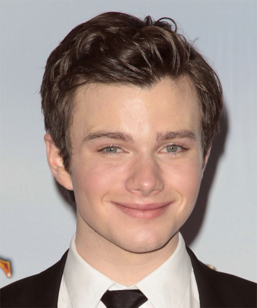 Chris Colfer Short Wavy Formal Hairstyle - Medium Brunette (Chocolate) Hair Color