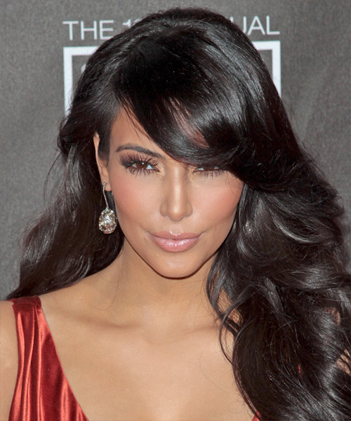 Kim Kardashian Long Wavy Formal Hairstyle with Side Swept Bangs - Dark Brunette (Mocha) Hair Color