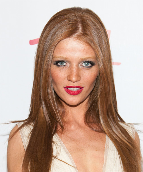 Cintia Dicker Long Straight Hairstyle - Light Brunette (Copper)