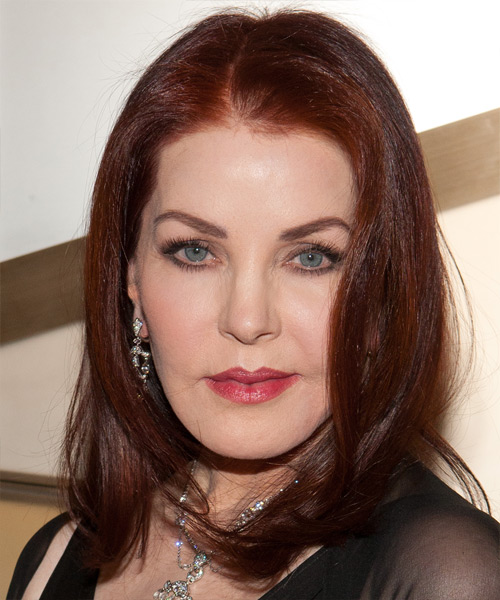 Priscilla Presley Medium Straight Hairstyle - Medium Red