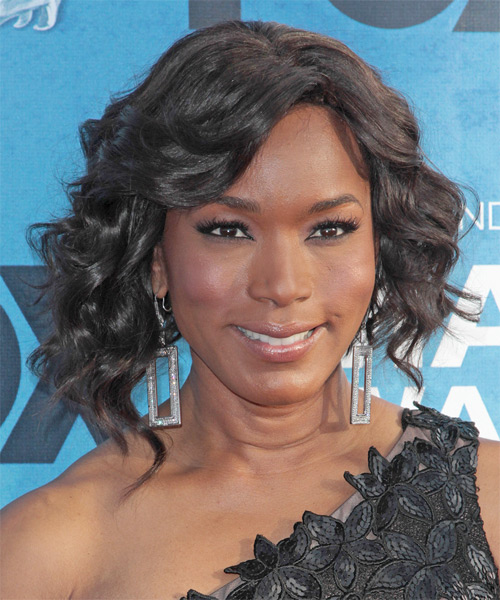 Angela Bassett Medium Curly Hairstyle - Black